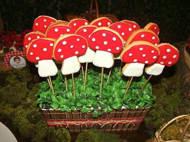 Biscoitos decorados em formato de cogumelos!