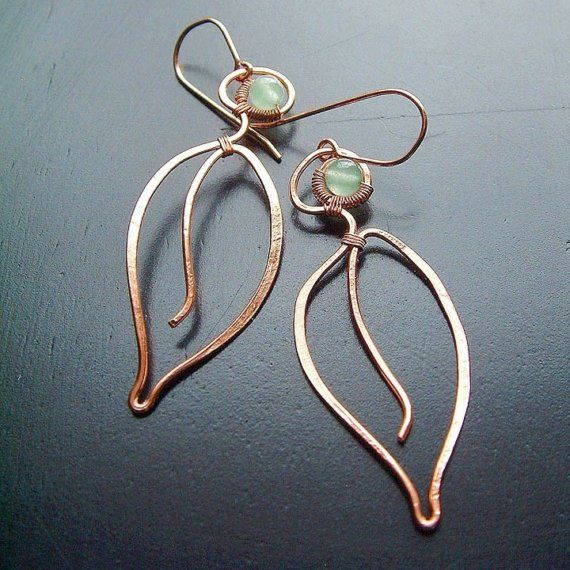 Rose Gold Earrings Long Leaves Green Aventurine botanical Gold ...