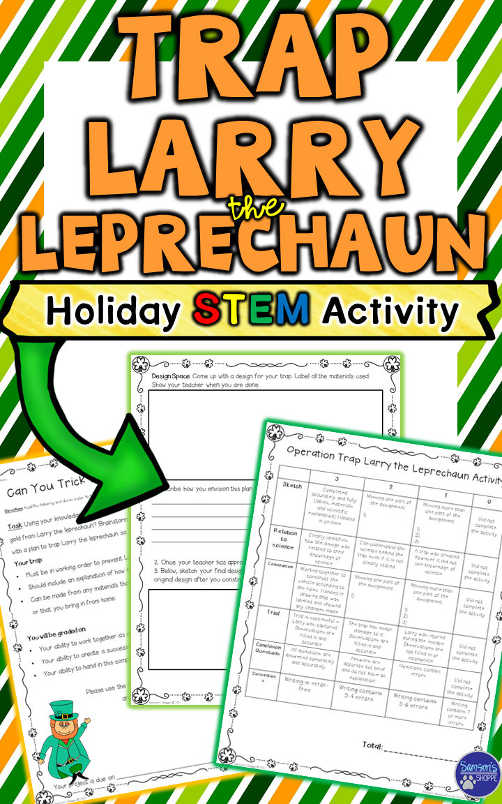 This hands-on resource is a St. Patrick's Day holiday STEM activity. Students will use given materials or ones they bring from home to trap Larry the leprechaun so that they can take his pot of gold.