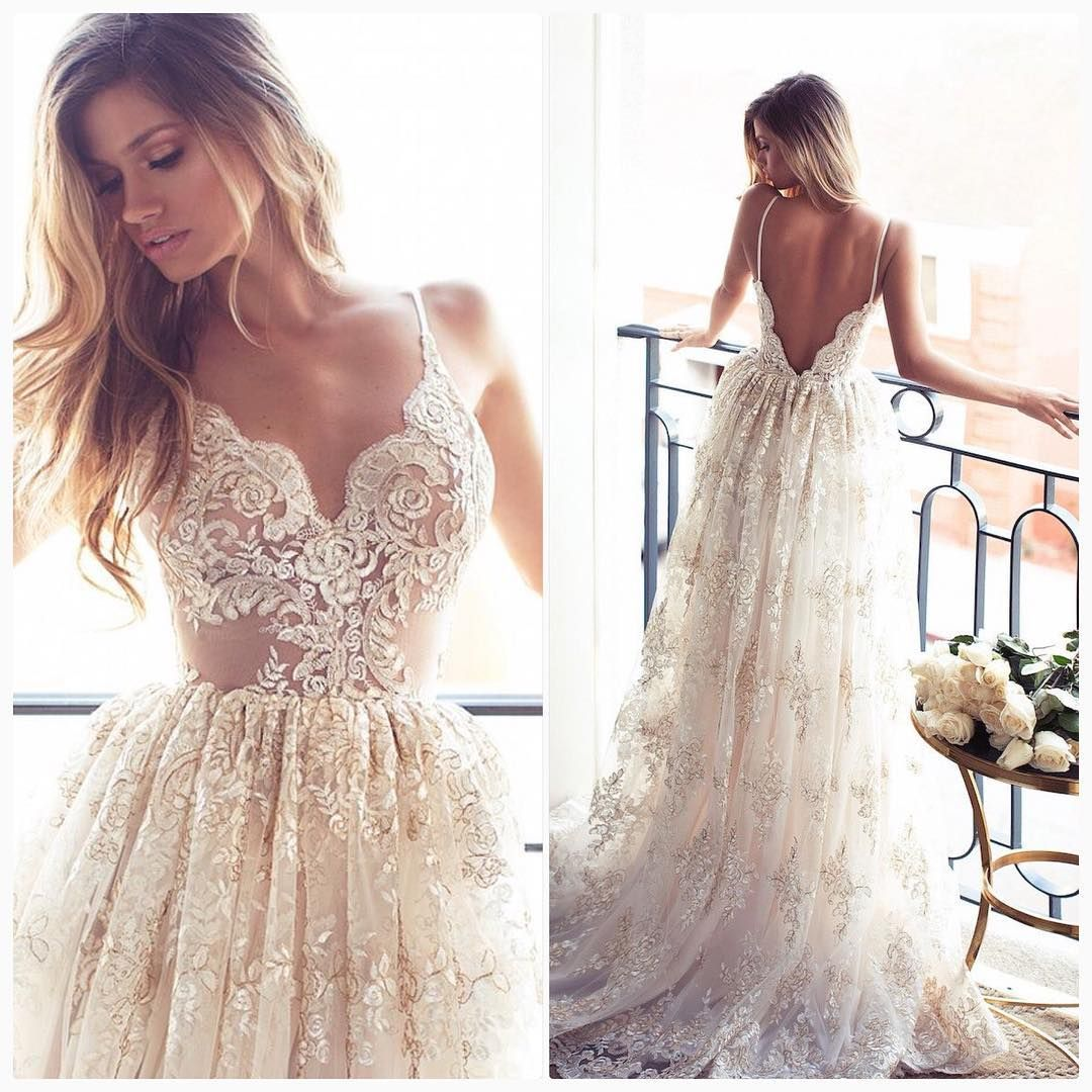 2017 Full Lace Open Back Wedding Dresses Y Spaghetti Straps Summer Gowns Thumbnail 1