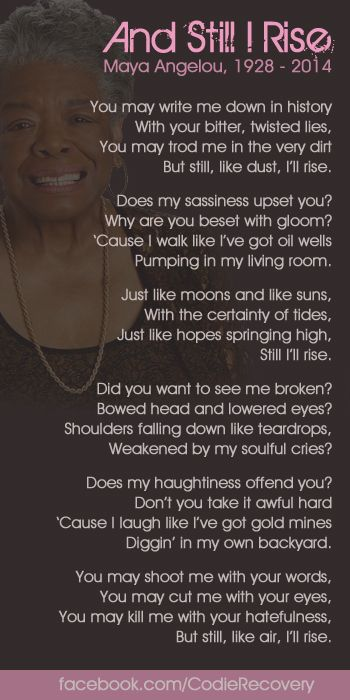 still i rise by maya angelou Need help analyzing still i rise by maya angelou read poet gary r hess's interpretation and synopsis of the poem here.