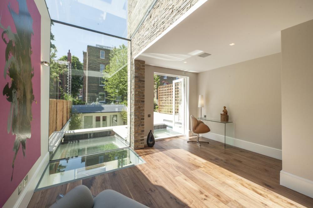 Holland Park, London, Terrace House - Rear Glazed Infill Extension And Glass Floor