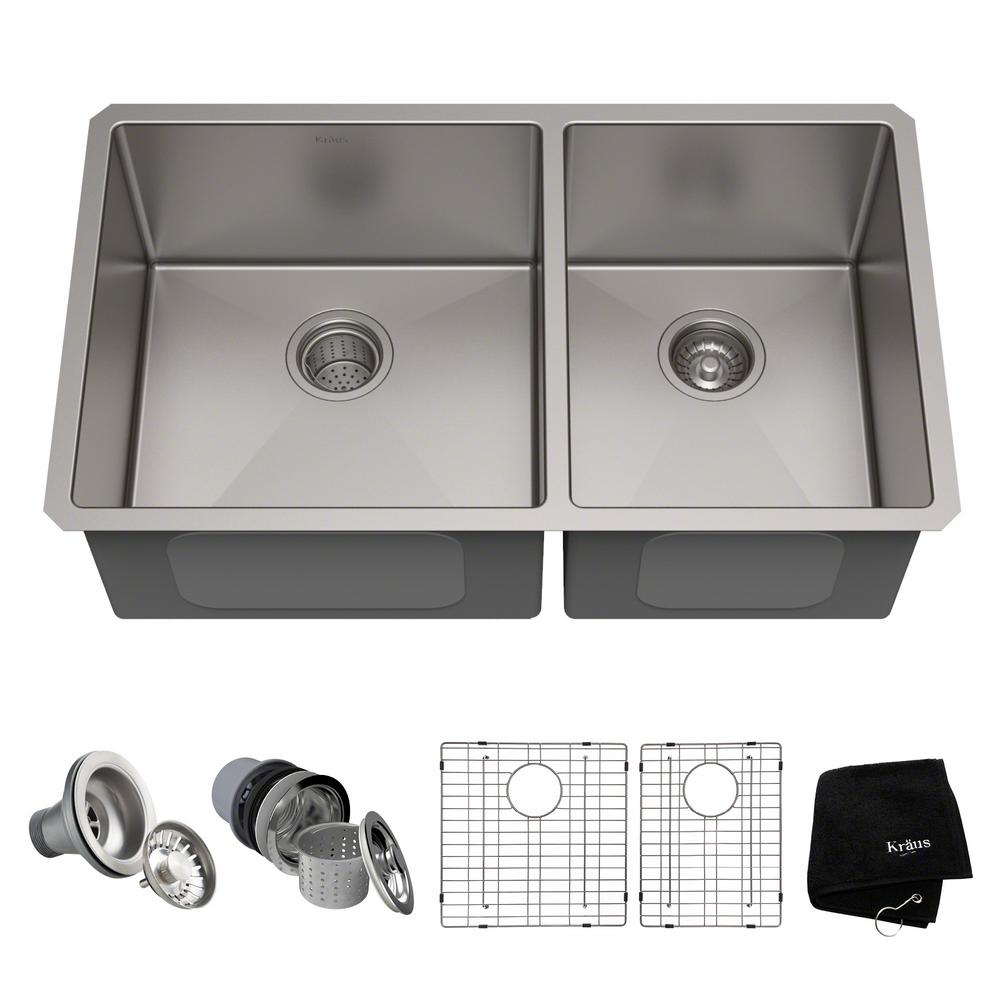 Kraus Standart Pro 33in 16 Gauge Undermount 60 40 Double Bowl Stainless Steel Kitchen Sink Silver Steel Kitchen Sink Double Bowl Kitchen Sink Sink