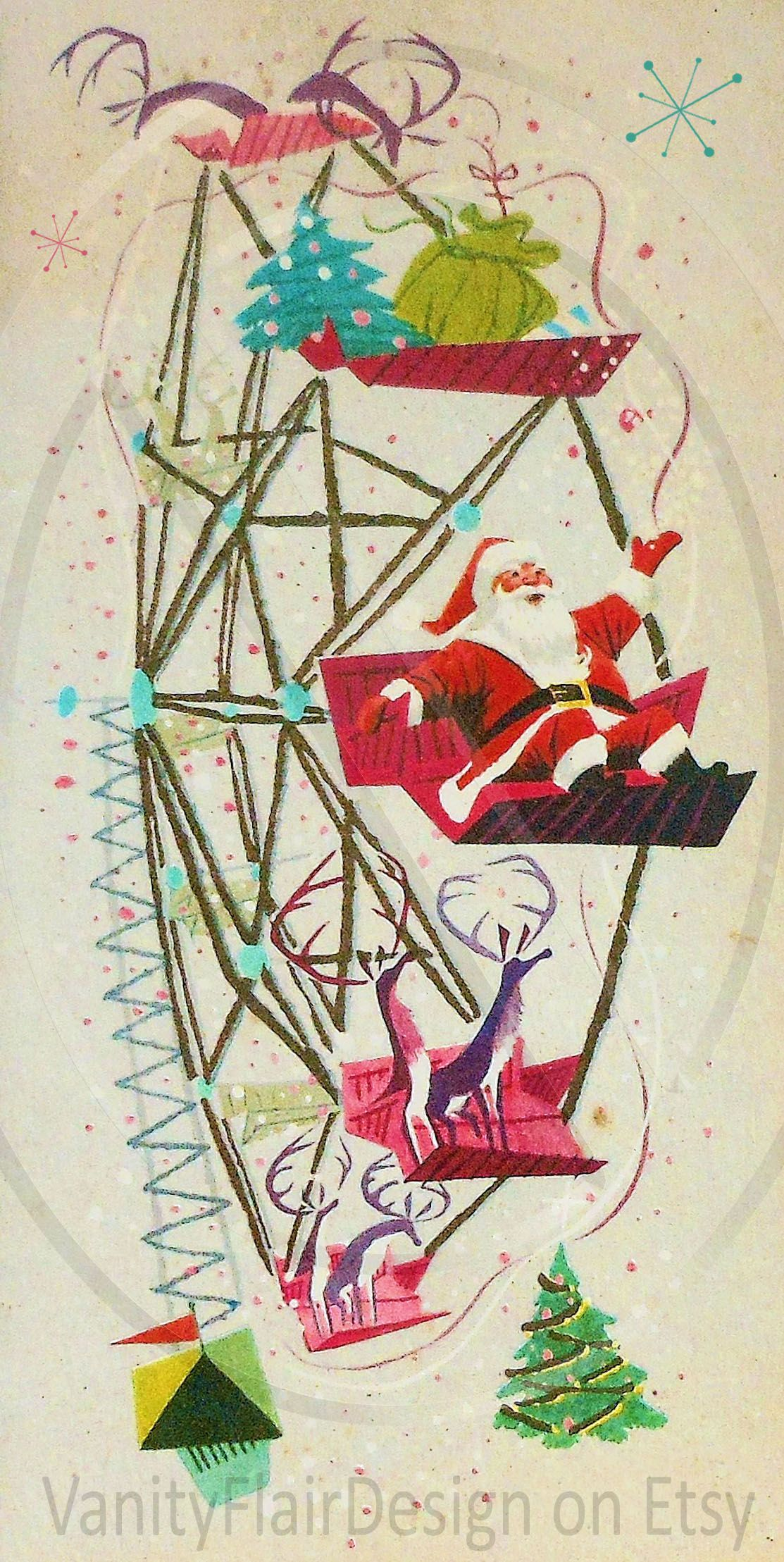 Retro Christmas Card Vintage Christmas Card Antique Christmas Card