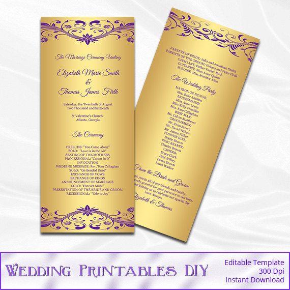 Purple And Gold Wedding Program Template By WeddingPrintablesDiy