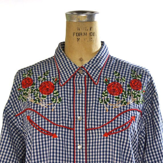 1970/'s Checkered Rose Button-up Blouse