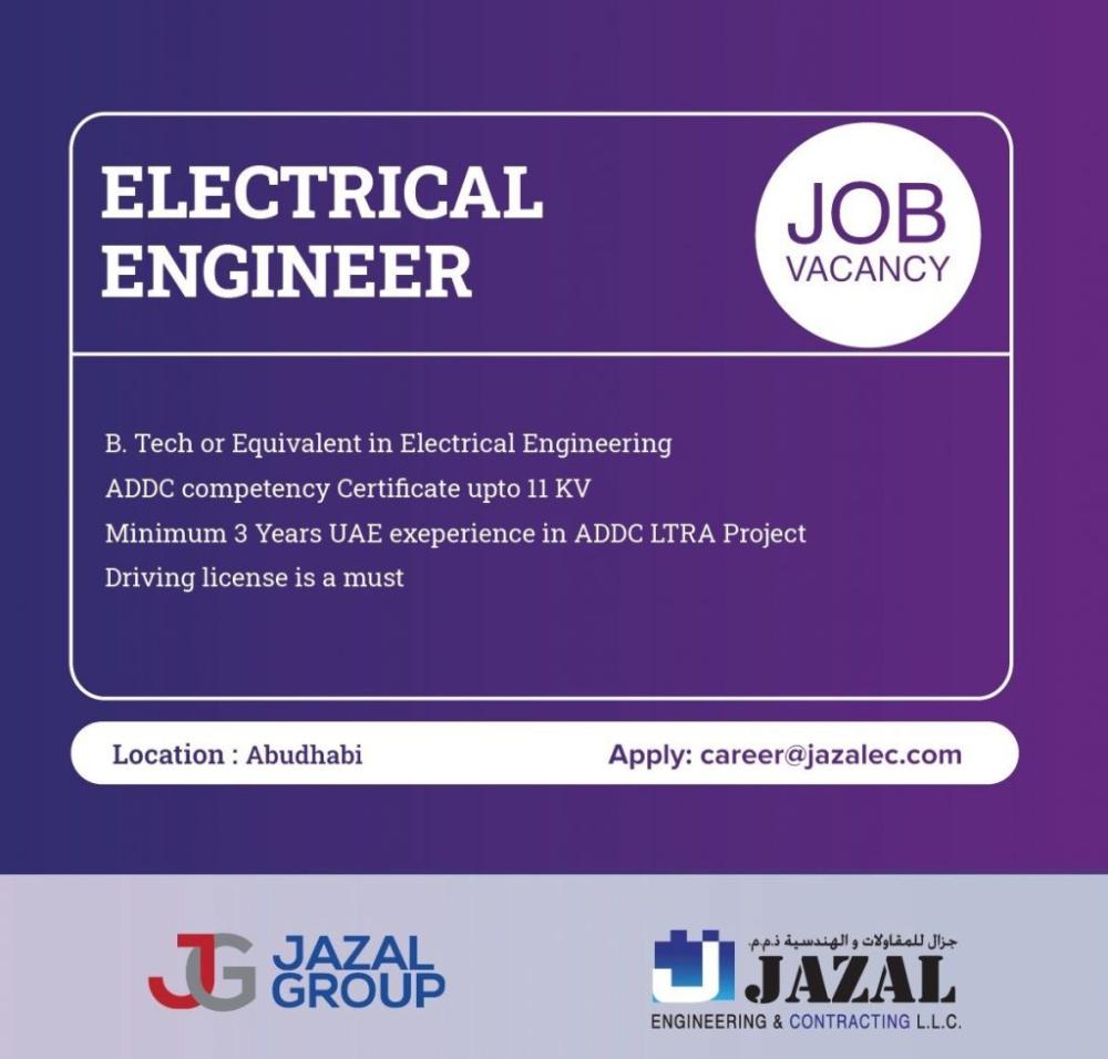 Electrical Engineer Uae Job Openings In 2021 Job Opening Electrical Engineering Electrical Jobs