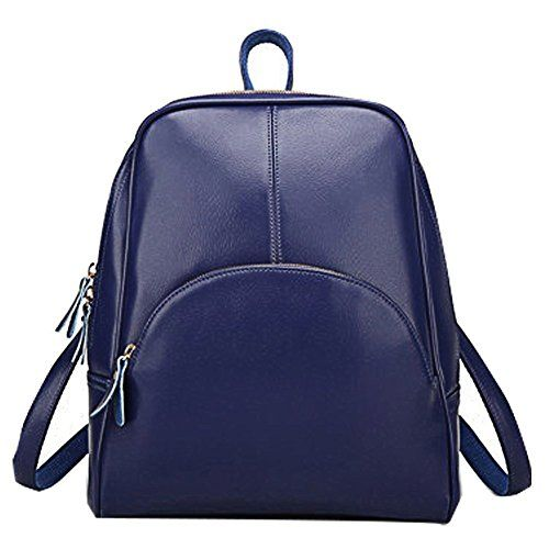 PULABO Women Chic Casual Backpack Leather Zipper Shoulder…