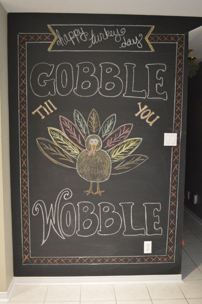 Thanksgiving turkey chalk art Thanksgiving chalkboard