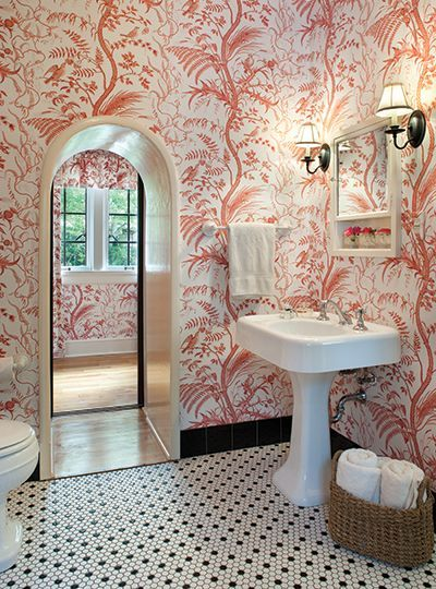 """This Brunschwig & Fils """"Bird and Thistle"""" wallpaper is so"""