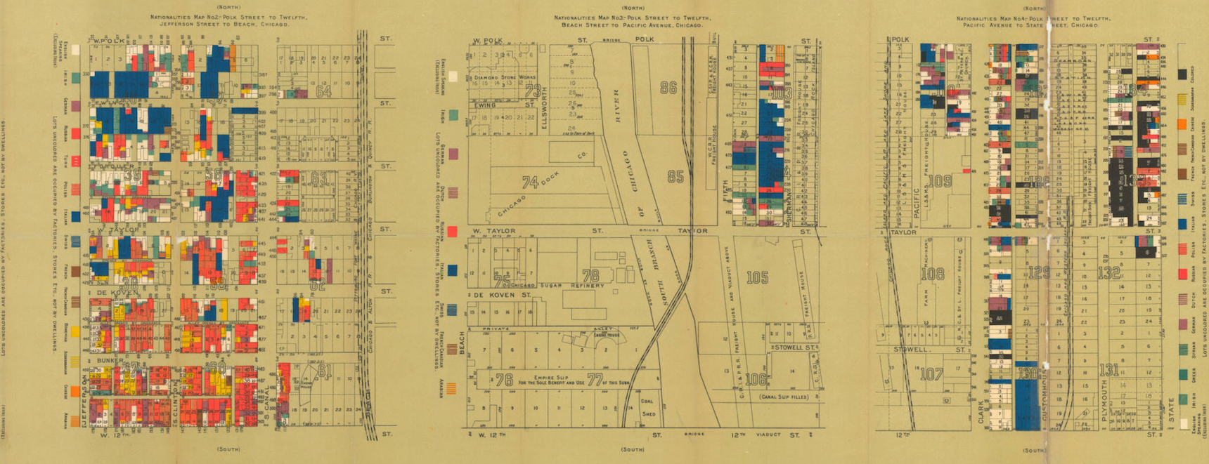 Chicago Map by Agnes Sinclair Holbrook Nationalities