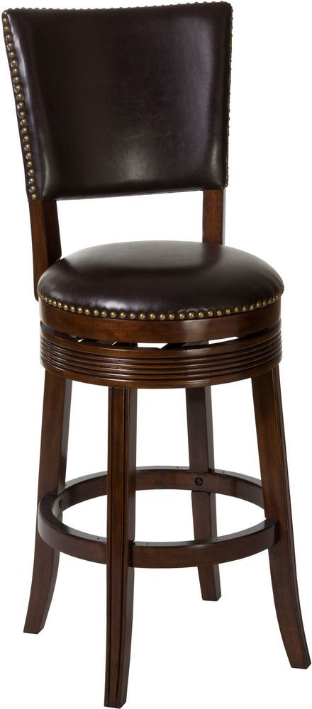 Swivel Bar Stool Wood Brown Cherry Armless High Back Chair Kitchen