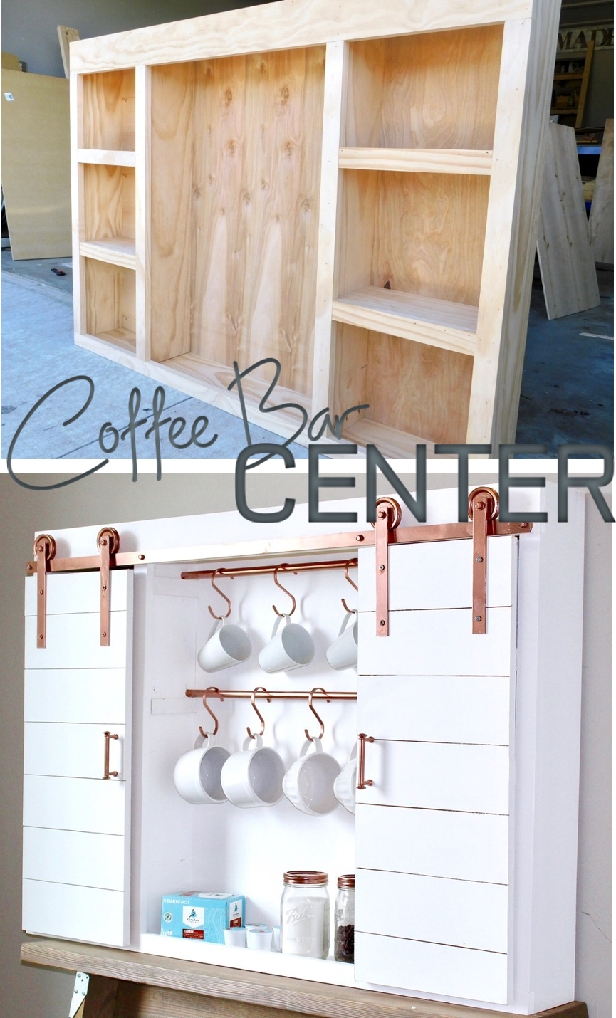 Awe Inspiring Diy Barn Door Coffee Bar Center Woodworking Diy Barn Home Interior And Landscaping Spoatsignezvosmurscom
