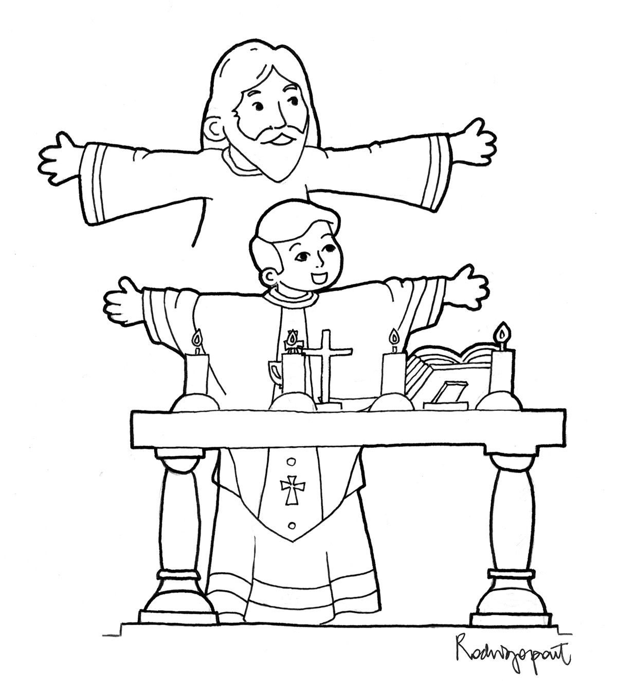 Coloring Page Of Priest Celebrating Mass Catholic Mass Catholic
