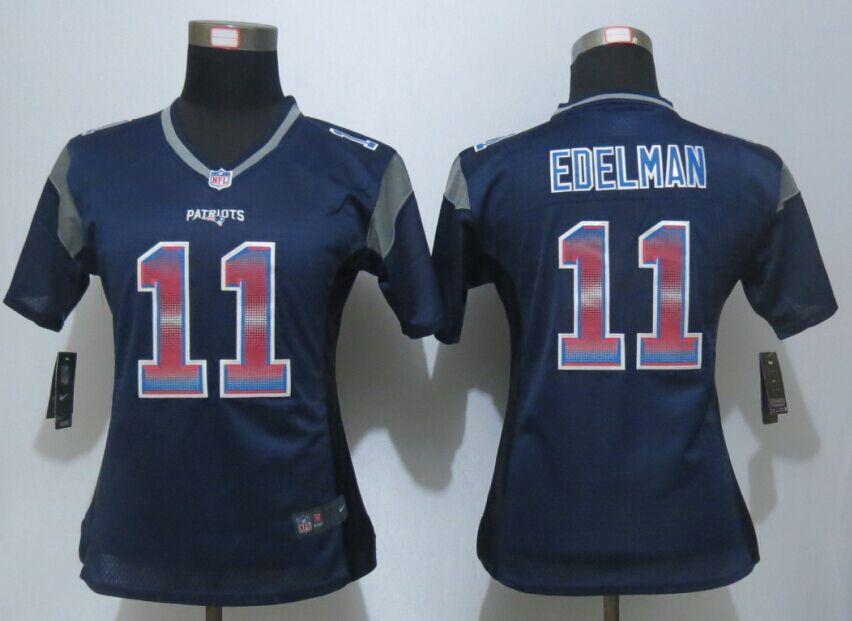 reputable site 79787 57e9c Womens England Patriots 11 Edelman Navy Blue Strobe New Nike ...