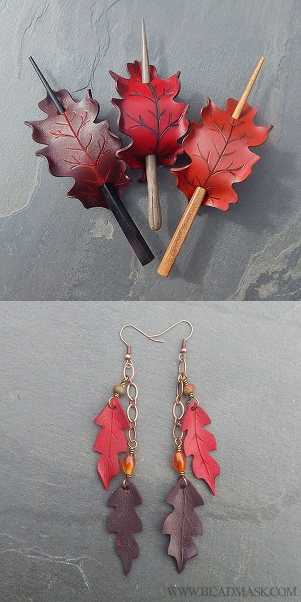 Photo of Oak Leaf Hair Sticks in Shades of Red – Rounded Leaves – Beadmask