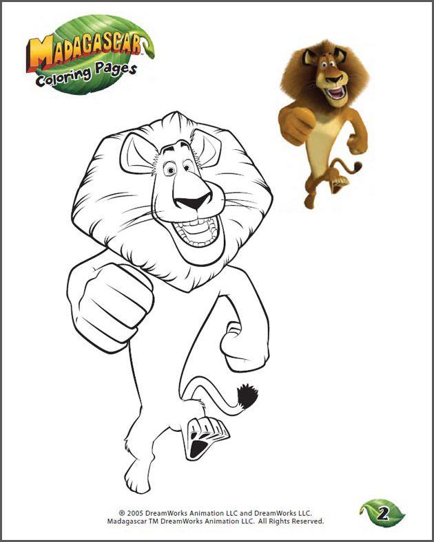 Color Alex 2 Free Madagascar Coloring Page For Kids Lion Coloring Pages Baby Coloring Pages Coloring Pages