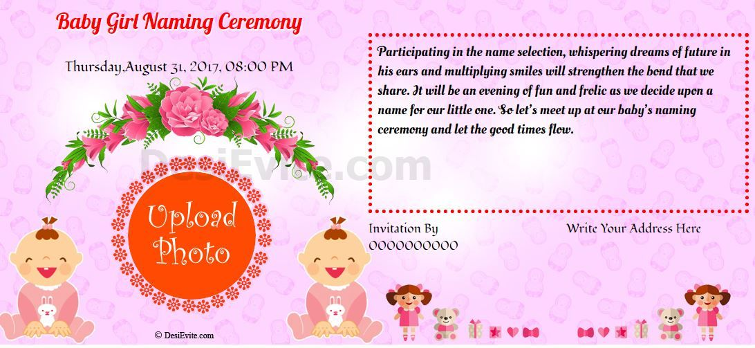 Baby girl naming ceremony Invitation Naming ceremony