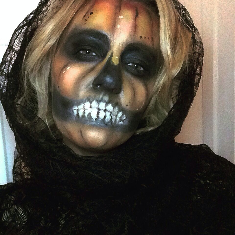 Halloween makeup pumpkin skull skeleton orange black face
