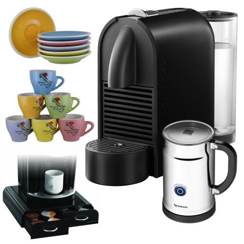 Keurig Coffee Maker Milk Frother : Nespresso U D50 Espresso Maker with Aeroccino Milk Frother, Pure Black + Coffee Pack Drawer for ...