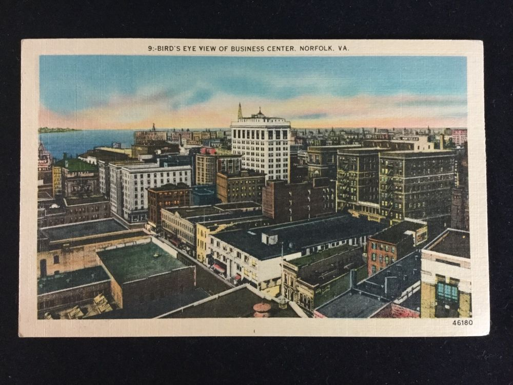 Vintage aerial view norfolk va business center postcard unposted vintage aerial view norfolk va business center postcard unposted mid century reheart Image collections