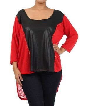 A leather-like panel is accented by figure-defining studs, making this top pop! Don its curve-friendly construction to feel comfortable and fashion-forward.