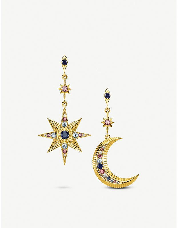 Thomas Sabo Kingdom Of Dreams Royalty Star Moon 18ct Yellow Gold Plated Sterling Silver Earrings Mens Silver Necklace Silver Ring Designs Silver Earrings