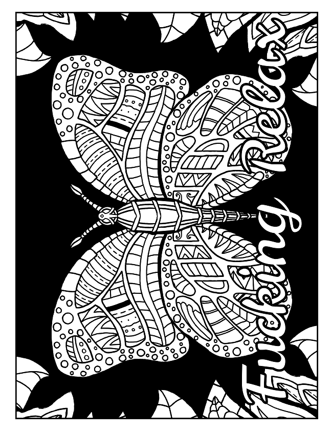 Coloring Book For Adults With Swears Including Butterflies And