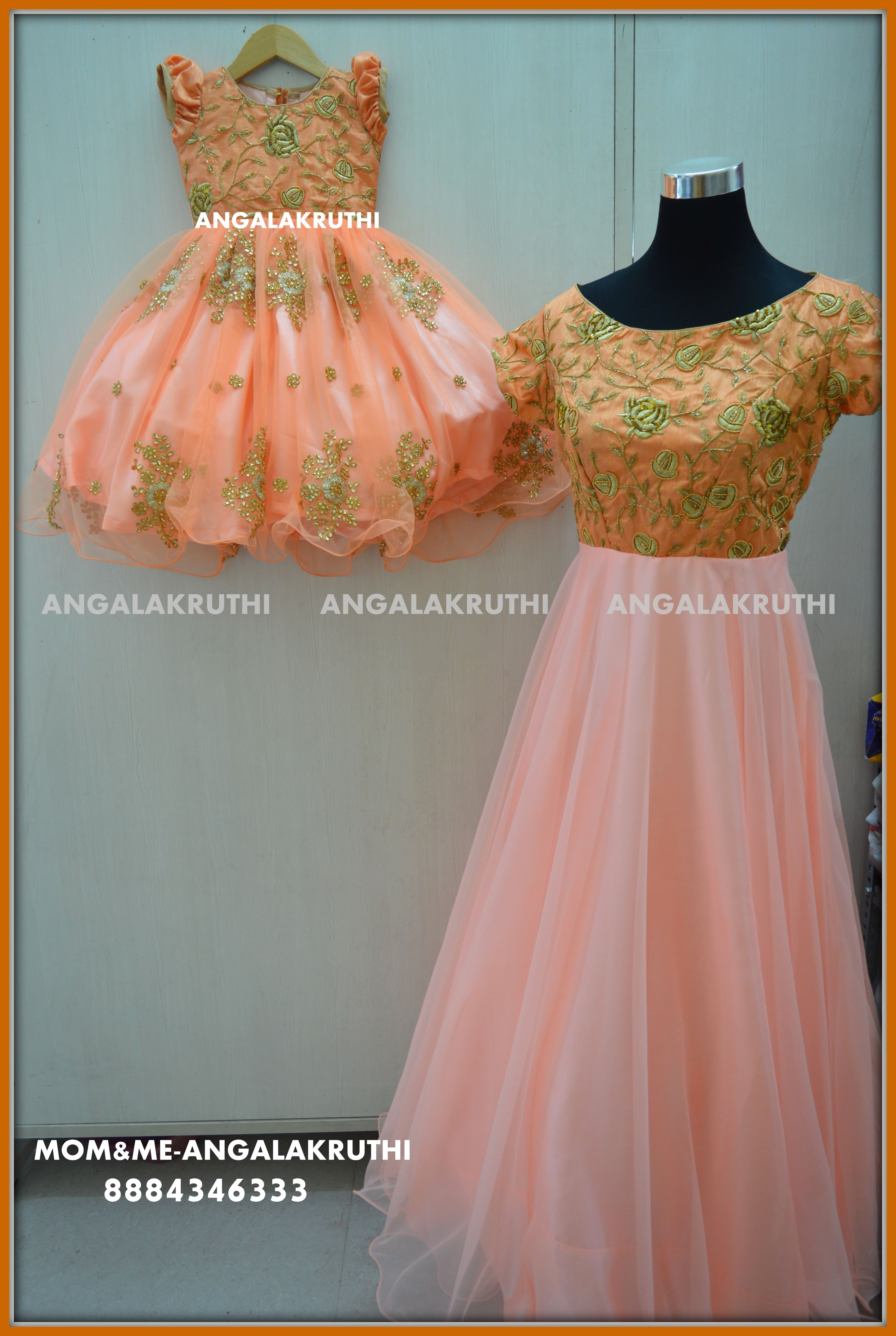 be74370f3f #Mother and daughter matching dress designs by Angalakruthi-Bangalore  boutique watsapp:8884346333 #Mom n Me designs #Kids frock with hand  embroidery