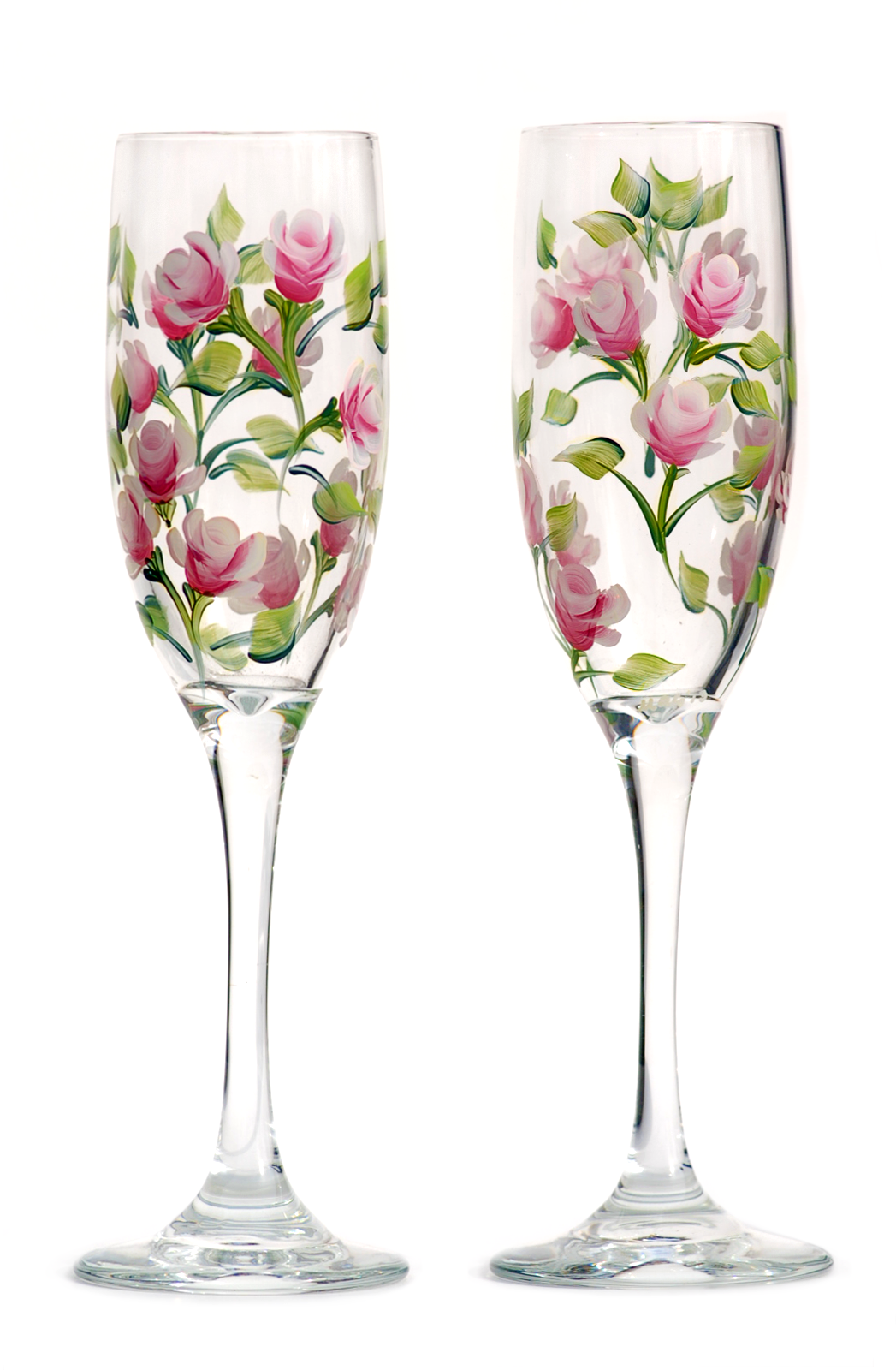 High Quality Wine Glasses Pink Rosebud Champagne Flutes Set Of 2 Products