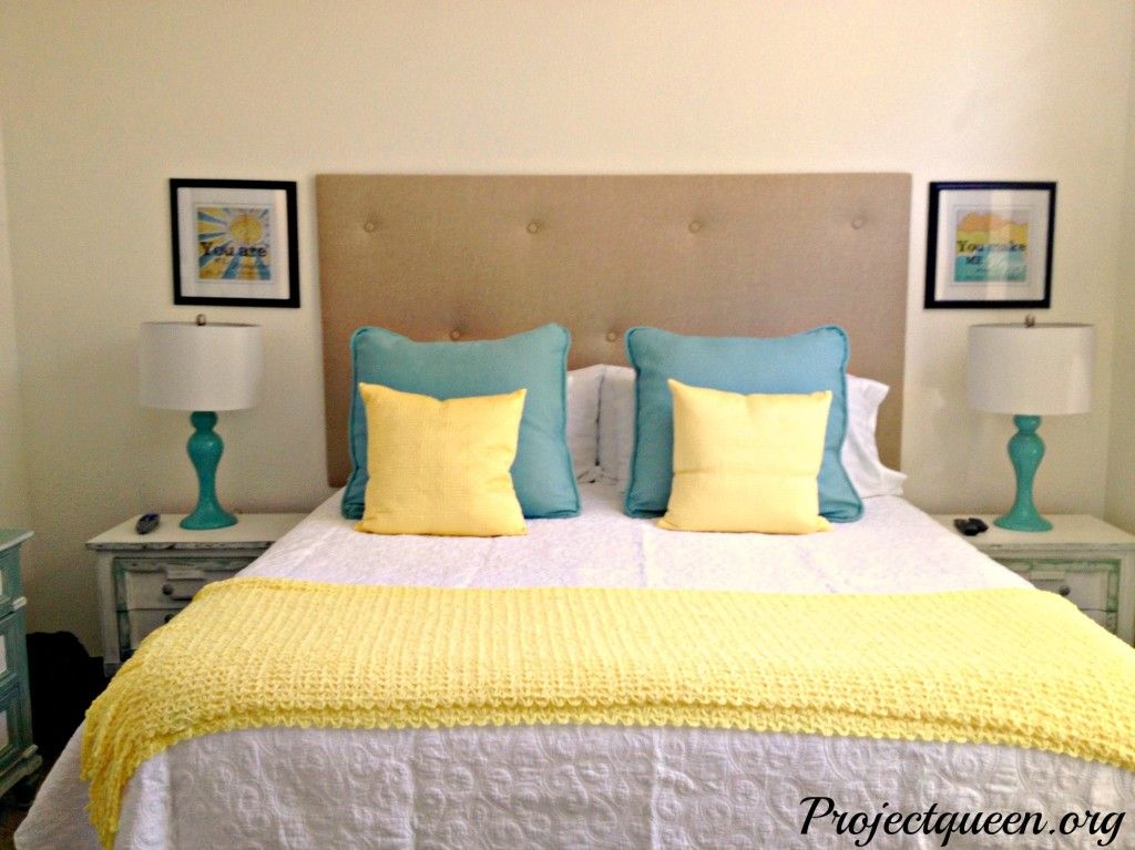 Master Bedroom Update Vintage Blue, Yellow and White