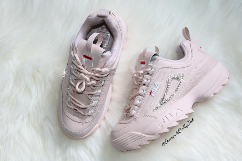 on feet images of exclusive shoes uk availability Swarovski Women's Fila Disruptor 2 Premium Pink Sneakers Blinged ...