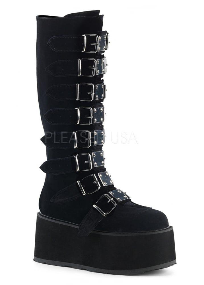 89a1ef4b237 Demonia Damned 318 Velvet Knee High Gothic Platform Boot in 2019 ...