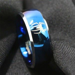 Blue Spiderman Superhero Logo Tungsten Ring Promise rings