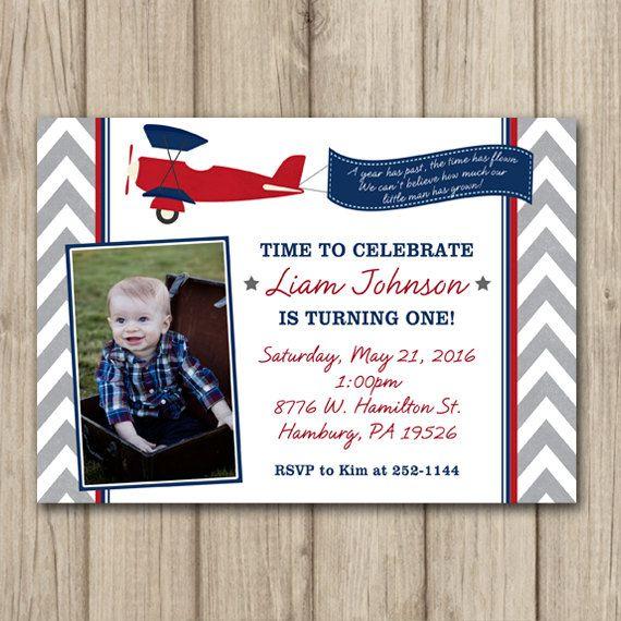 AIRPLANE BIRTHDAY INVITATION Time Flies by kimberlyjdesign on Etsy