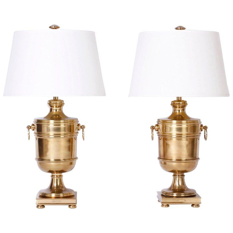 Pair Of Brass Urn Table Lamps By Ralph Lauren Table Lamp Lamp Silver Table Lamps