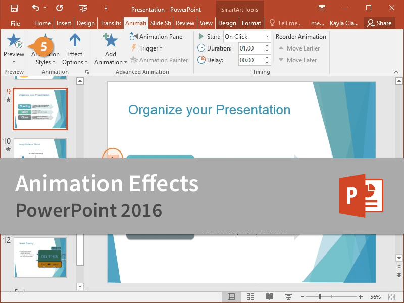 microsoft powerpoint 2016 customguide animation effects tutorial
