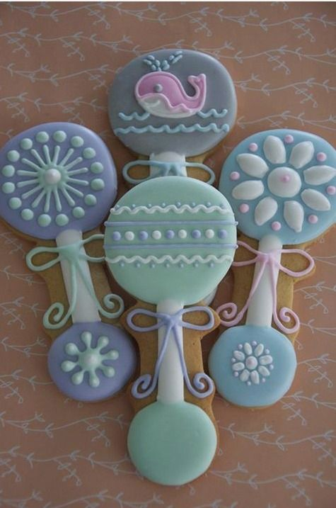 rattle cookies baby shower cookies pinterest discover best ideas