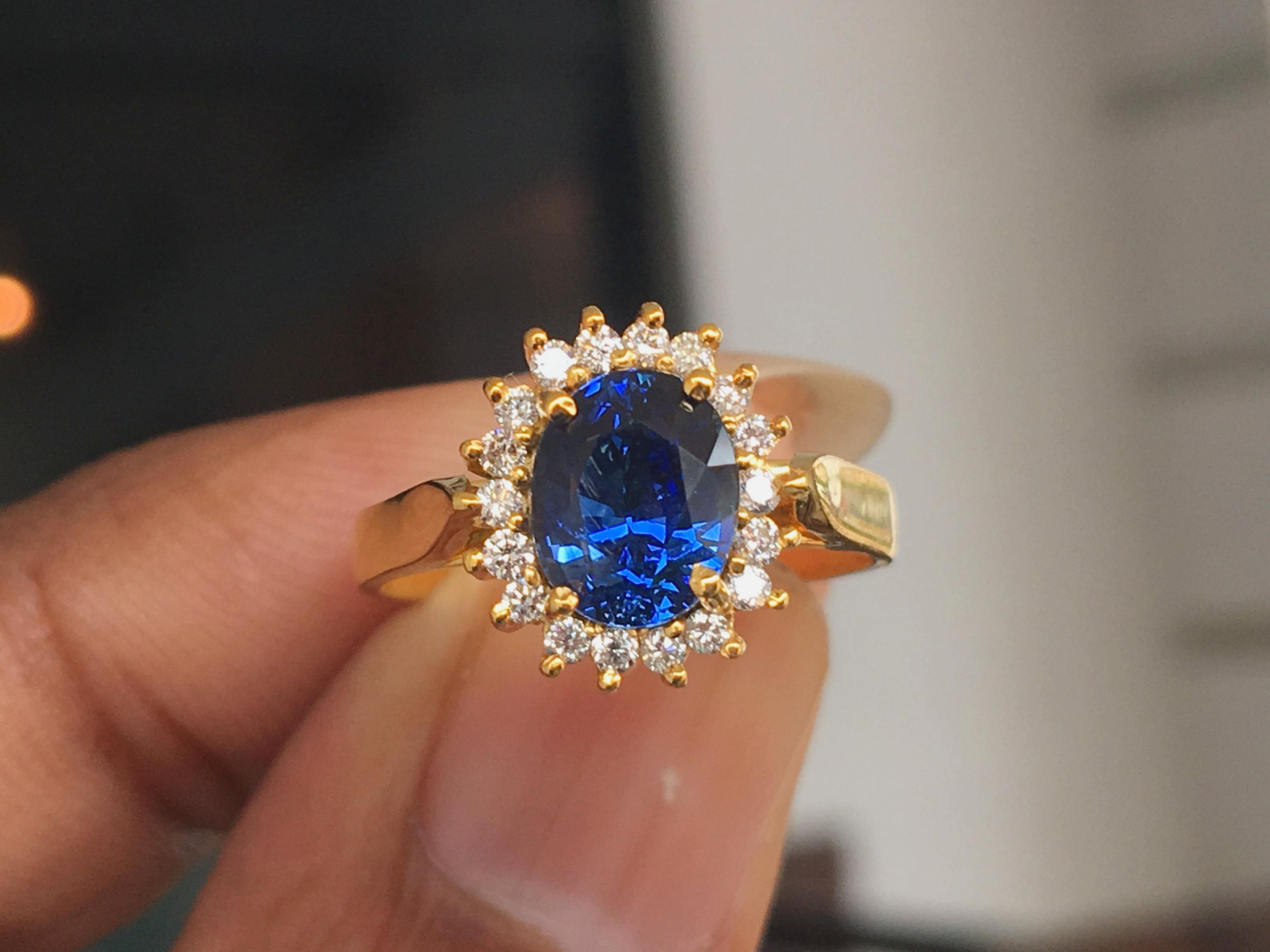 Princess Diana Blue Sapphire Ring With Diamond Halo 22k Yellow
