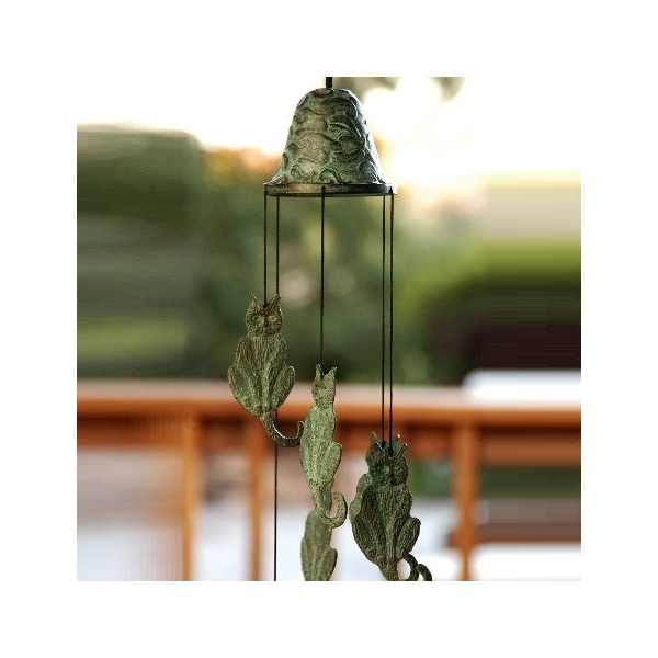 36 cast brass cat wind chime 21 l all things cats for Colored porcelain koi fish wind chime