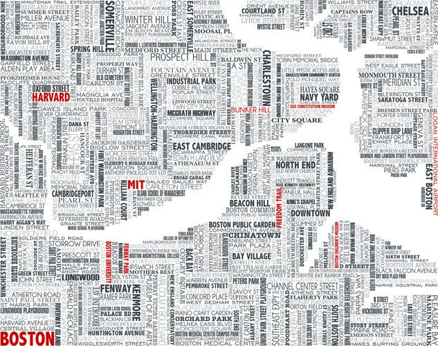AMAZING typographic map of Boston 2SensePromo Office Decoration