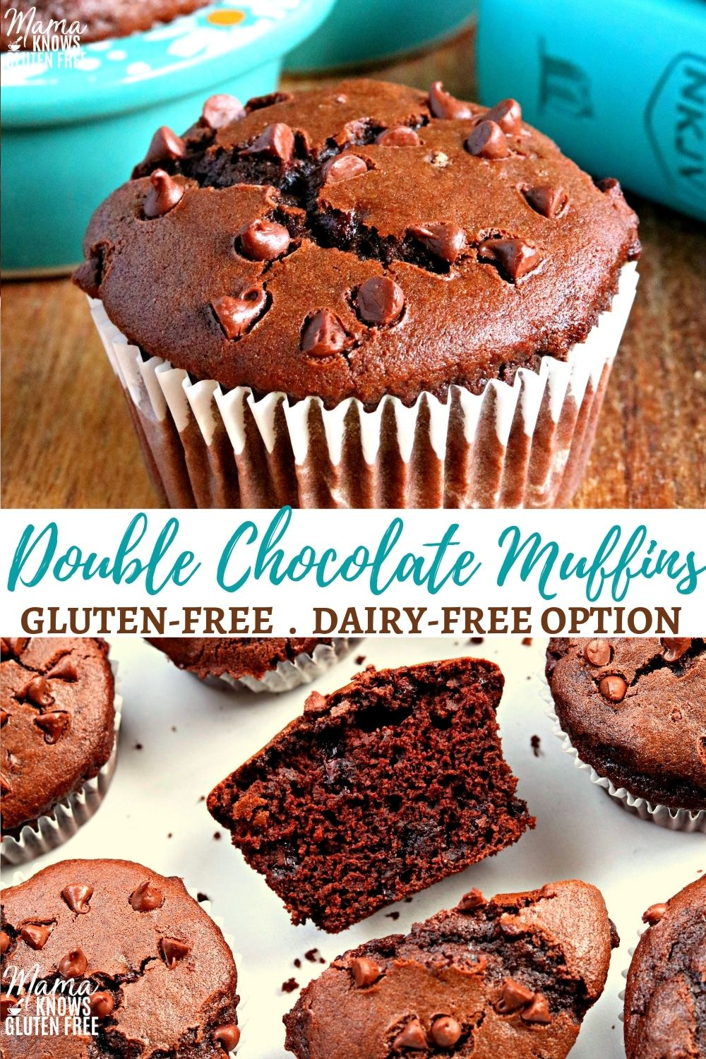Gluten-Free Double Chocolate Muffins are a bakery style muffin that is soft, moist and chocolatey. It does not get much better than chocolate, chocolate chip muffins for breakfast! The recipe also has a dairy-free option. #glutenfreerecipes #dairyfree #glutenfreebreakfasts