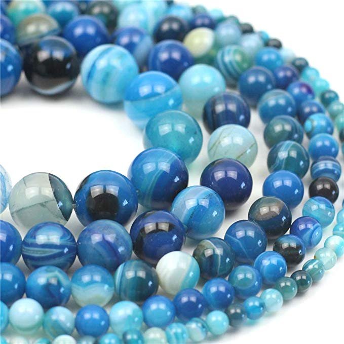 8MM Gorgeous Natural Crazy Blue Lace Agate Gemstone Smooth Round Loose Beads 15.5 inch For Jewelry Making