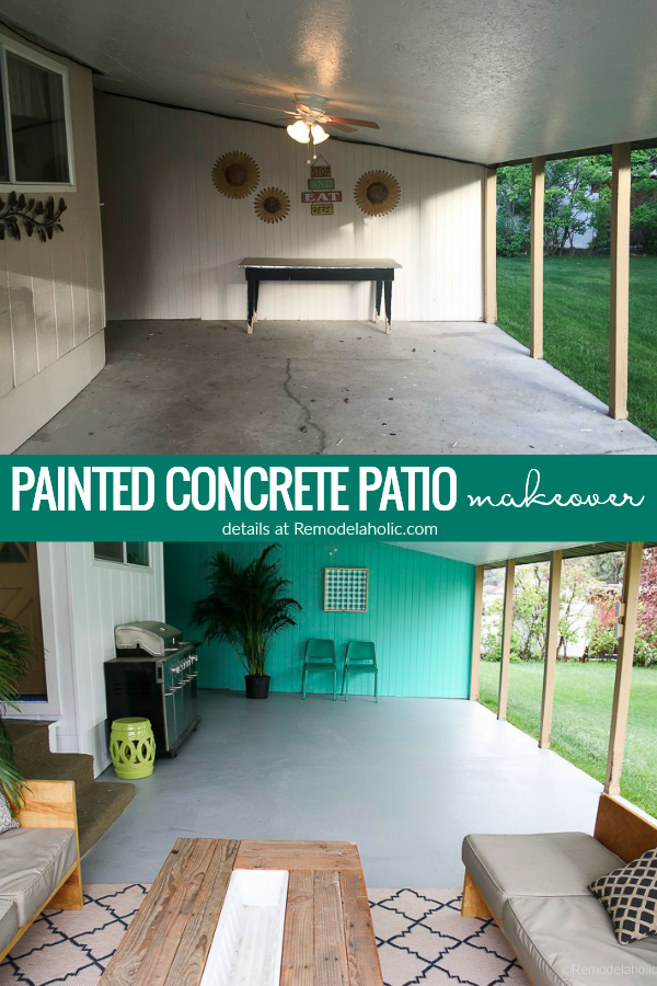 Covered Patio Makeover With Painted Concrete Slab Your Old Cracked Concrete Slab Can Look Like New Aga Concrete Patio Makeover Concrete Patio Patio Makeover