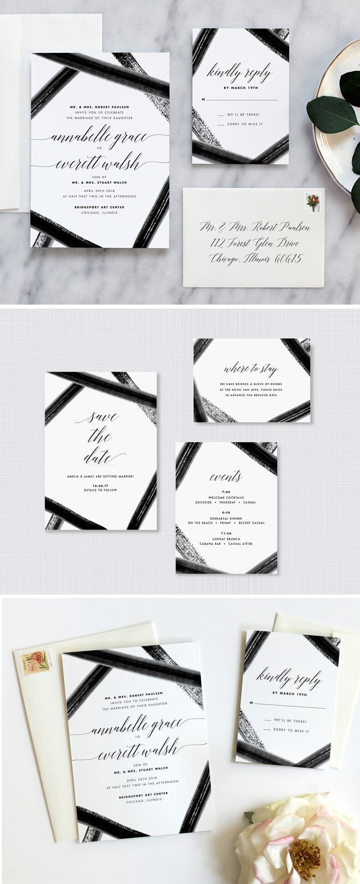 Black and white wedding invitations with pretty watercolor detail ...