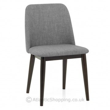 Elwood Walnut Dining Chair Grey Fabric In 2020 Fabric Dining