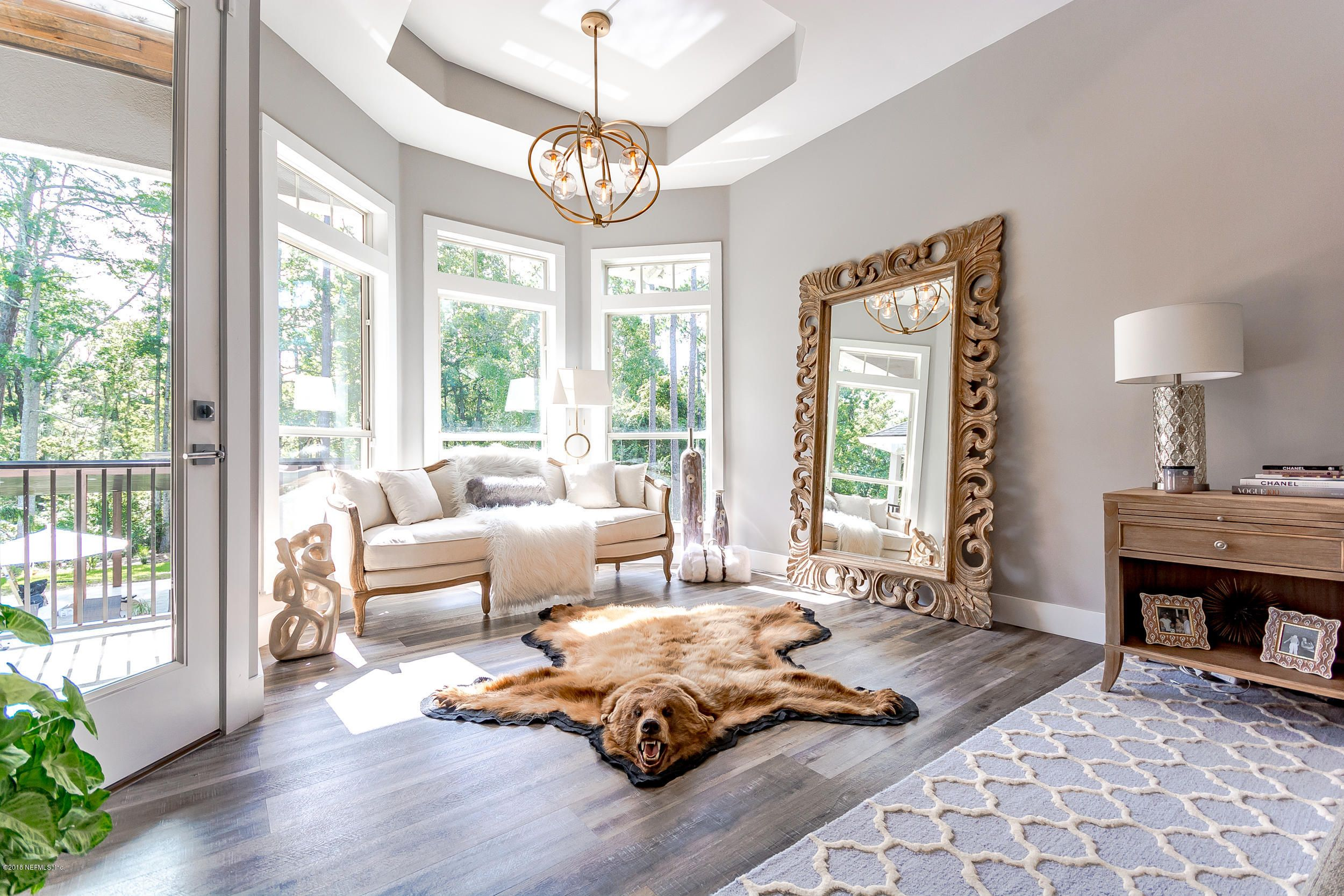 Add a bearskin rug for a touch of rugged elegance. Home