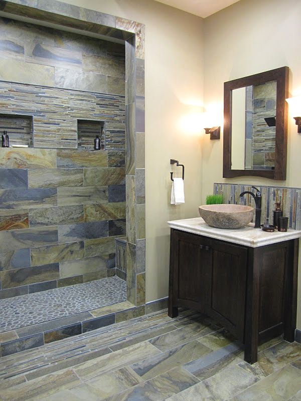 Rustic Slate Bathroom With Many Different Formats And