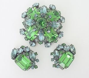 VINTAGE  Schreiner New York Brooch/Pendant & Earring Set | eBay