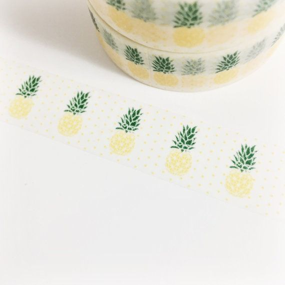 SALE Yellow and Green Detailed Pineapple Washi by SilentPoetryArts